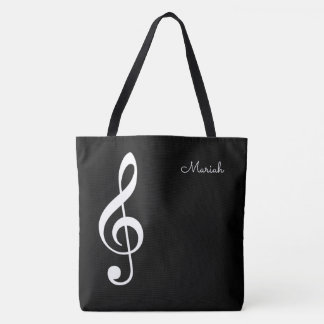 modern music treble clef on black tote bag