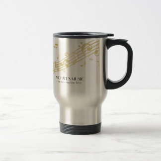 Modern Musical Business Branding Gold Music Notes Travel Mug