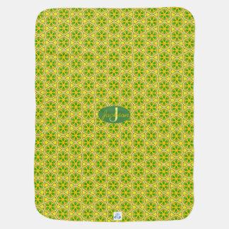 Modern Mustard Geometric Pattern with Monogram Baby Blanket
