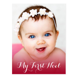 Modern My First Christmas Baby Photo Red Postcard