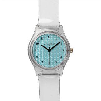 Modern nautical anchor watch with custon name