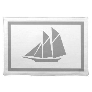 Modern Nautical Gray Sailboat & White Placemat