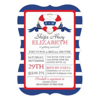 Modern Nautical Heart Buoy Bridal Shower Card