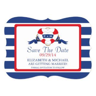 Modern Nautical Heart Buoy Save The Date Card