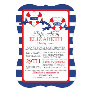 Modern Nautical Heart Buoy Twins Baby Shower Card