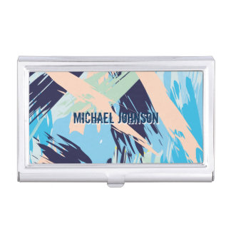 Modern Nautical Maritime Blue Business Card Holder