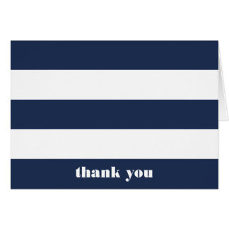 Modern Nautical Navy & White Stripe Thank You Card