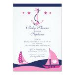 "Modern Nautical Sailboat Baby Shower Invitation 5"" X 7"" Invitation Card"