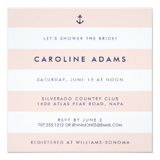 Modern Nautical Stripe Blush & Navy Bridal Shower 13 Cm X 13 Cm Square Invitation Card