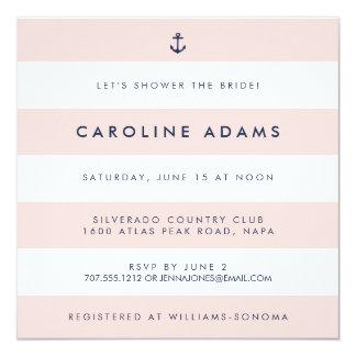 Modern Nautical Stripe Blush & Navy Bridal Shower Card