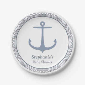 Modern Nautical Themed Baby Shower Supplies Paper Plate