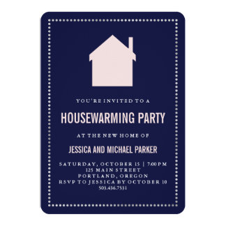 Modern Navy and Pink Housewarming Party 13 Cm X 18 Cm Invitation Card