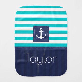 Modern Navy Aqua Blue Nautical Design Custom Burp Cloths