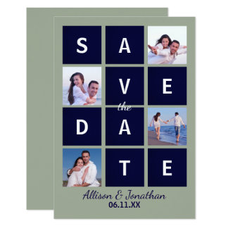 Modern Navy Block Letters & Photo-3X5Save the Date Card