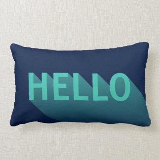 Modern Navy Blue and Aqua Teal Hello Typography Lumbar Pillow