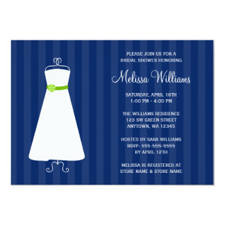 Modern Navy Blue and Green Gown Bridal Shower Card