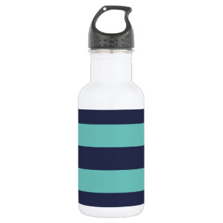 Modern Navy Blue and Turquoise  Rugby Stripes 532 Ml Water Bottle