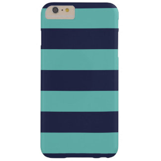 Modern Navy Blue and Turquoise  Rugby Stripes Barely There iPhone 6 Plus Case