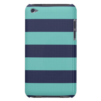 Modern Navy Blue and Turquoise  Rugby Stripes Barely There iPod Cover