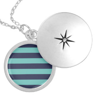 Modern Navy Blue and Turquoise  Rugby Stripes Locket Necklace