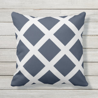 Modern Navy Blue and White Criss Cross Stripes Throw Pillow