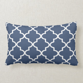 Modern Navy Blue and White Moroccan Quatrefoil Lumbar Cushion