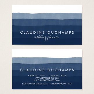 Modern navy blue elegant watercolor ombre striped