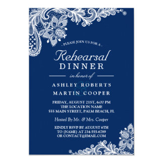 Modern Navy Blue Lace Wedding Rehearsal Dinner Card