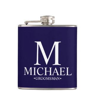 Modern Navy Blue Personalized Groomsman Hip Flask
