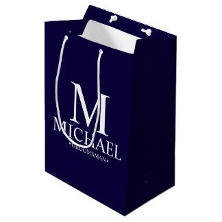 Modern Navy Blue Personalized Groomsman Medium Gift Bag
