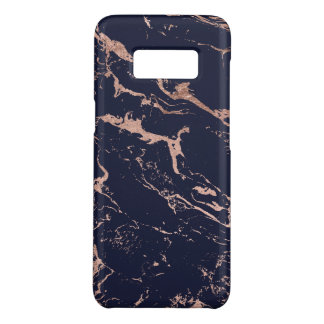 Modern navy blue rose gold marble pattern Case-Mate samsung galaxy s8 case