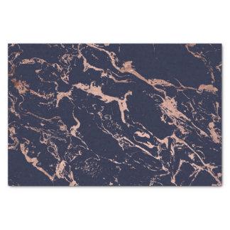 Modern navy blue rose gold marble pattern tissue paper