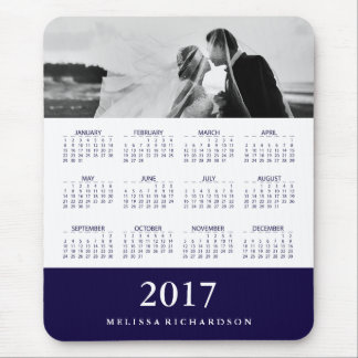 Modern Navy Blue Stripe 2017 Calendar and Photo Mouse Pad