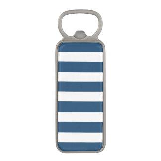 Modern Navy Blue White Stripes Pattern Magnetic Bottle Opener