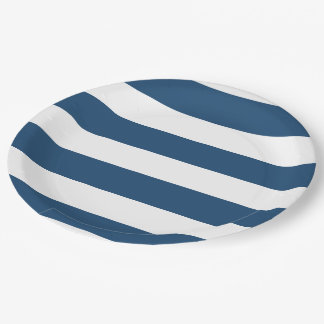 Modern Navy Blue White Stripes Pattern 9 Inch Paper Plate