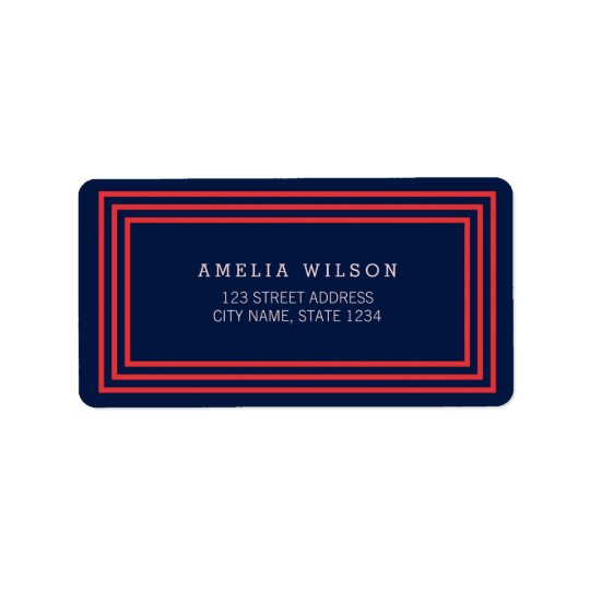 Modern Navy Blue with Salmon Pink Borders Address Label