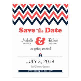 Modern Navy Coral Chevron Lovebirds Save the Date Postcard