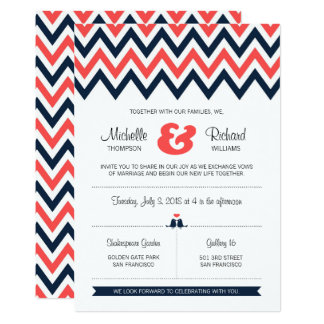 Modern Navy & Coral Chevron & Lovebirds Wedding Card