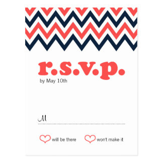 Modern Navy & Coral Chevron & Lovebirds Wedding Postcard