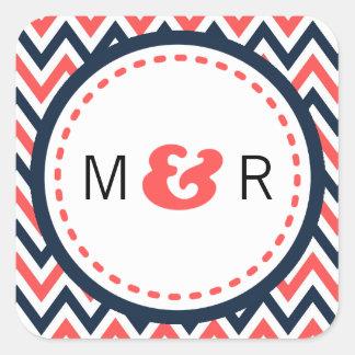 Modern Navy & Coral Chevron & Lovebirds Wedding Square Sticker