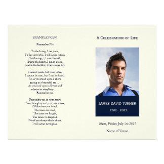 Modern Navy & Cream Memorial Funeral Program Flyer