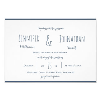 Modern navy & white wedding invitations