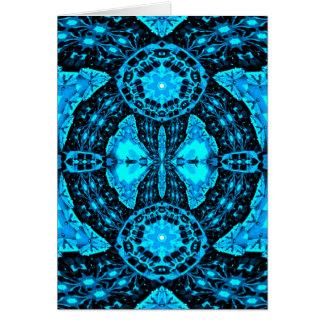 Modern Neon Blue Funky Pattern Card