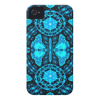 Modern Neon Blue Funky Pattern iPhone 4 Cases