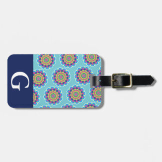 Modern Neon Bright Mandalas Print & Initial Letter Luggage Tag