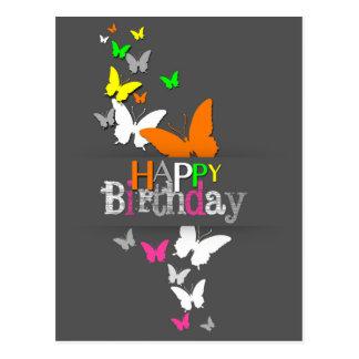 Modern Neon Butterflies Birthday - Postcard