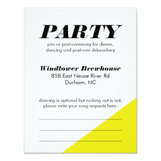 Modern Neon Color Block Wedding Reception Card 11 Cm X 14 Cm Invitation Card