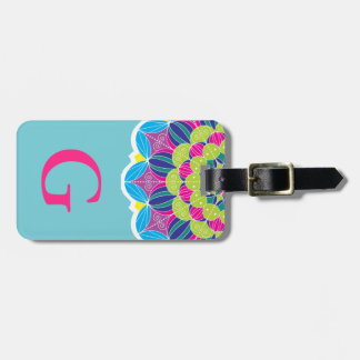 Modern Neon Colors Bright Mandala & Initial Letter Luggage Tag