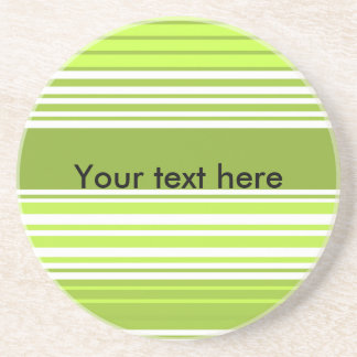 Modern neon green and moss stripes drink coasters
