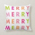 Modern Neon Merry Christmas Holiday Throw Pillow